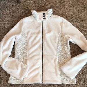 Vanity large cream fleece with lace detail